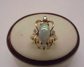 Antique 14k Yellow Gold Ring with Diamonds and Finest  Genuine Australian Opal, Art Nouveau,early 1900s