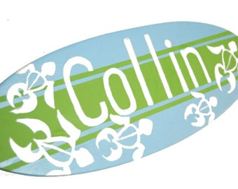 Beach Themed Last Name Sign, Surfboard Decor, Surf Board Wall Art, Family Signs, Surfing Sign Beach Nursery Decor, Family Name Sign Wood