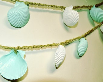 Beach Wedding Garland, Seashell Garland, Baby Shower Decor, Mint Green Sea Shell Bunting, Seashell Decor, Beach Wedding Decor