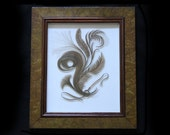 Victorian Hair Picture-Large Fabulous-Framed In Burled Wood -Sentimental, Memento Mori