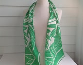 Vintage Scarf, Vintage Green Scarf, Vintage Silk Scarf, Green Patterned Silk Scarf, Long Pointed Silk Scarf