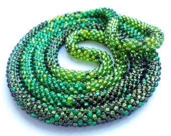 Crocheted Beaded Necklace - Green Snake