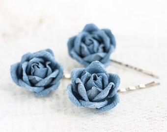 721_Blue hair flower pin, Hair accessories denim, Jean hair flowers, Rose pins, Hair accessories roses, Teenage hair accessories, Rose clips