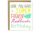Funny Birthday Card - Radtacular Birthday Card - Happy Birthday Card, Friend Birthday, Super Bday, Neon, Fun Birthday, Hilarious Birthday