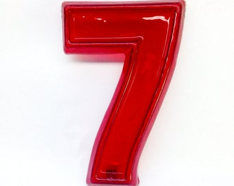 """Red Marquee Number 7 - Vintage Plastic Sign - 8"""" tall"""