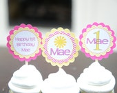You are my sunshine cupcake toppers-Little Miss Sunshine cupcake toppers-Sunshine birthday -pink and yellow-You are my Sunshine-