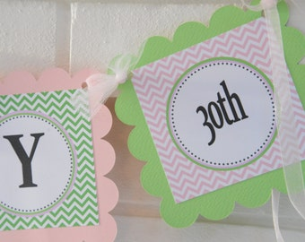 Happy 30th Birthday banner - Pink and Lime