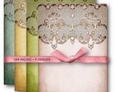 Digital Collage Sheet Download - Damask Lace Backgrounds -  520  - Digital Paper - Instant Download Printables