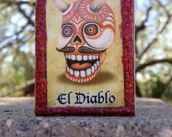 Loteria Day of the Dead Matchbox, El Diablo devil, El Muerte death