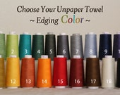 Unpaper Towel Organic Birdseye Cotton Unbleached Reusable -- Set of 12, Choose Your Edging Colour Thread