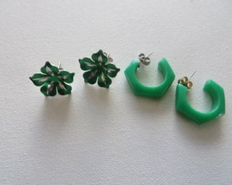 2 Pairs of Vintage Green Earrings for St. Patricks Day