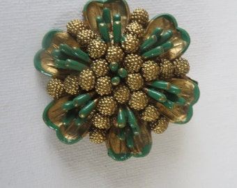 Vintage Green and Gold Plastic Brooch
