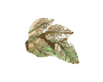 Vintage Goldtone Textured Leaf Brooch