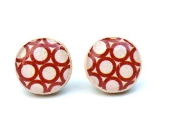 Red geometric Stud earrings. Red Studs. Red Stud Earrings. Red Earrings. Eco friendly jewelry, Wood earrings, minimalist jewelry