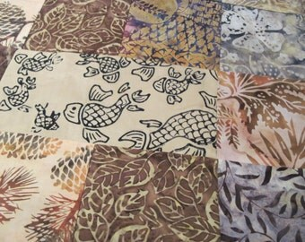 """14"""" x 14"""" PILLOW COVER - Fine Brown Batiks Soothing Woodland Koi Pond Forest Nature"""