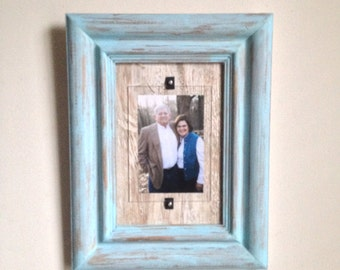 5 x 7 Distressed Handmade Picture Frame - Whispering Turquoise & White