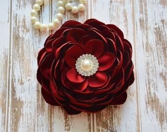 Red Ruby, Dark Wine Hair Flower Clip, Bridal Fascinator, Hair Piece, Dark Red, Wedding, Flower Girl, Hair Accessories, Bridesmaid Flower