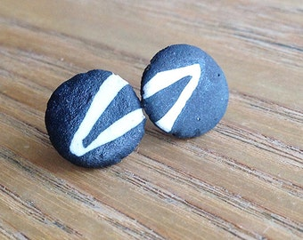 Ceramic Earrings. Buttons. Organic Design in Black and White.