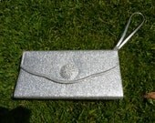 Vintage silver sparkle clutch bag, lame fabric, solid, rectangle, statement metal buckle, with strap