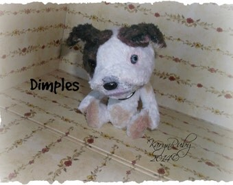 PDF EPattern  to make 7 inch 'Dimples' ~ PitBull  Vintage Style Viscose or Mohair by Artist KarynRuby