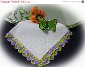 20% Off Sale Vintage Purple and Yellow Crocheted Pansies Hankie-Handkerchief Gorgeous