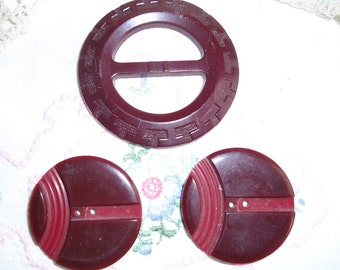 Vintage Buttons and Buckle or Slide - Burgundy Round Buckle and 2 Two Tone Carved Celluloid Buttons Two Hole