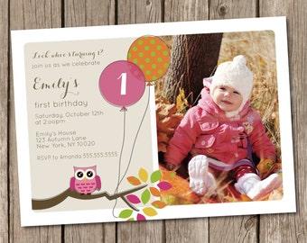 Owl Balloon Birthday Party (Photo) Invitation Digital Printable, Any Color any wording