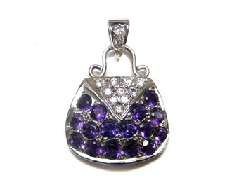 925 Sterling Silver Rhodium Plated Pendant with Natural Amethyst and Cz stones handbag style pendant daily wear jewelry christmas giftforher