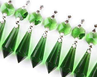 35 Green Glass Chandelier Crystals Icicle Prisms