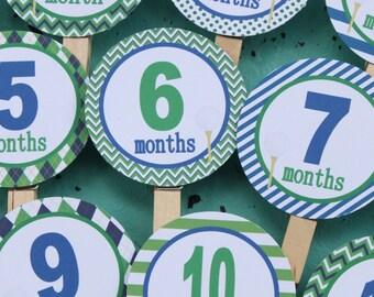 PREPPY GOLF 1st Birthday Photo Clips Banner Newborn - 12 months Blue Green