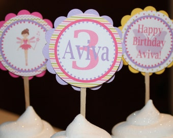 GARDEN FAIRY Happy Birthday or Baby Shower Cupcake Toppers 12 {One Dozen} - Party Packs Available