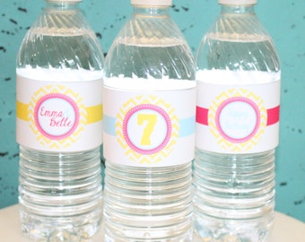 GIRLY CHEVRON Birthday or Baby Shower Water Bottle Labels Set of 12 {One Dozen} - Party Packs Available