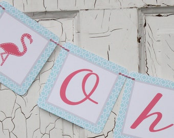 PINK FLAMINGO Aqua Pink Happy Birthday or Baby Shower Party Banner - Party Packs Available