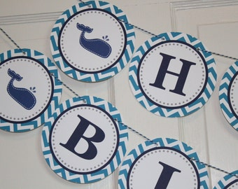 CHEVRON WHALE Baby Shower or Birthday Banner Navy White - Party Packs Available