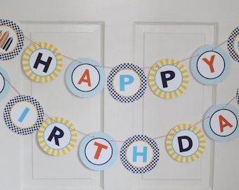 PREPPY  BEACH Baby Shower or Happy Birthday Banner Blue Orange Yellow - Party Packs Available
