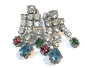 Unique 1940s 1950s rhinestone screw-back earrings chandelier clear with pink, blue and green stones at end.
