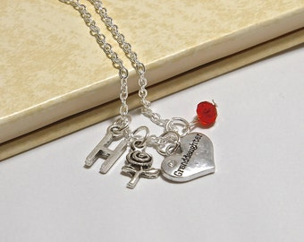 Personalized Granddaughter Necklace with Your Initial and Birthstone