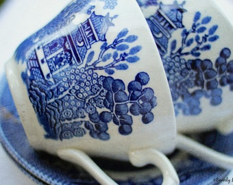 blue willow, china, dishes, kitchen, fine art photography