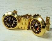 Vintage Ruby Red Rhinestone Cufflinks