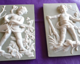 Wall Plaques by Anart Manufacturing Cherubs Male and Female Fine Detail Marked