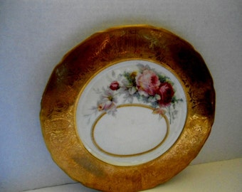 Limoges France Picture Frame Plate Very Rare T and V Limoges France Circa. 1910 Gold Rim Hand Painted