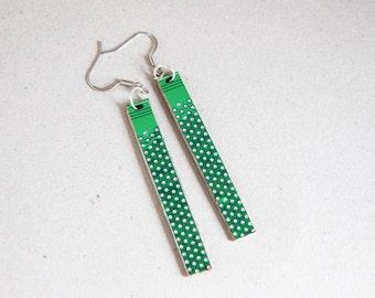 Long earrings - Circuit board earrings - geekery - Green dotted earrings - recycled computer