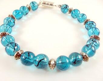 "Clearance - Blue beaded bracelet   (8"")"