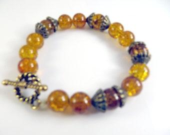 """Clearance -Golden beaded bracelet   (7 1/2"""")"""
