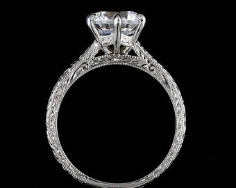 Six Prong Proposal Ring, Vintage Carved Engagement Ring, Engraved Solitaire Proposal Ring, Milgrain Unique Engagement Ring Setting Mounting