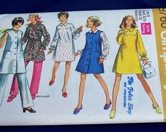 Vintage 1970 Simplicity Misses Maternity Dress, Jumper and Pants Size 8 Bust 31 1/2