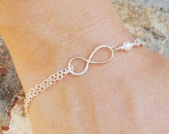 White Pearl Infinity Bracelet - Bridesmaid Gift - Best Friend Eternity Friendship - Sterling Silver Infinity Bracelet