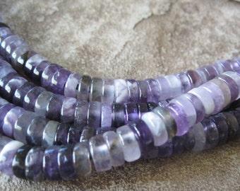 "Amethyst Large Hole Heishi  Bead 2.5 Big Hole Purple Gemstone Fits Leather 8"" 10mm"