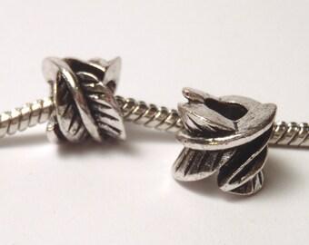 3 Beads - Leaves Leaf Barrel Silver European Charm Bead E0970