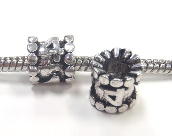 3 Beads - Number Numeral 4 Silver European Charm Bead E1064